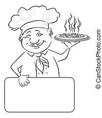 Cocina con pizza y poster, contorno