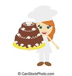 Cocina con torta grande