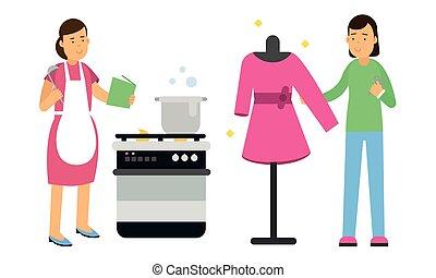 cocina, conjunto, joven, vector, sastrería, mujer, ilustración
