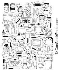 cocina, conjunto, utensilio, clases, cocina