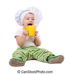 Cocina de bebé con gorra