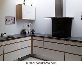 Cocina de madera limpia y moderna