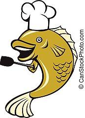 Cocina el chef bocazas de pez espátula
