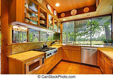 Cocina en el rancho con vistas naturales