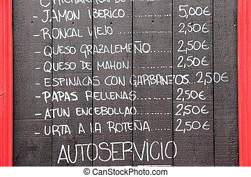 cocina, español, menú