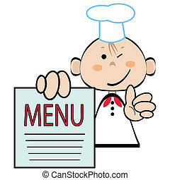 Cocina graciosa con menú, vector