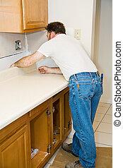 cocina, instalación, mostrador