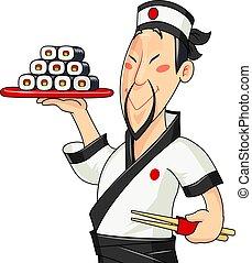 Cocina japonesa con sushi. Comida tradicional. Profesión