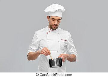 cocina, macho, cazo, chef, alimento