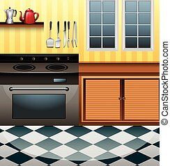 cocina, microonda, mostrador