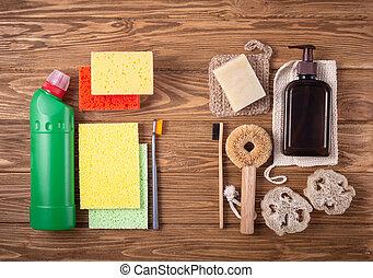 cocina, natural, productos, baño