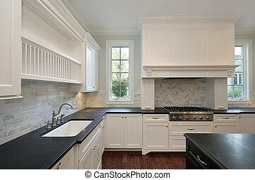 cocina, negro, countertops