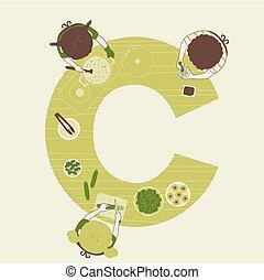 cocina, niños, ilustración, alfabeto, escuela