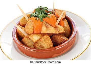 cocina, patatas, bravas, español