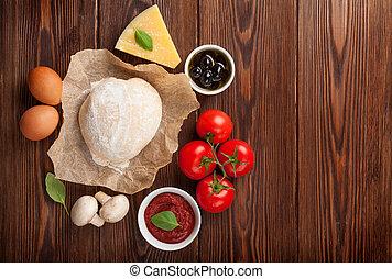 cocina, pizza, ingredientes