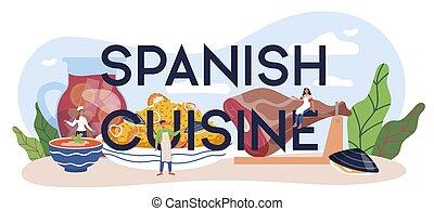 cocina, tradicional, mariscos, header., tipográfico, plato, español