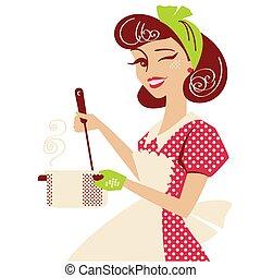 cocina, vestido, aislado, arriba, room., rojo, retro, vector, cocina, vendimia, estilo, sopa, alfiler, blanco, ama de casa, ella, ilustración