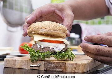 Cocina y hamburguesa decorada