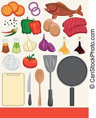 Cocinando ilustraciones de elementos de comida