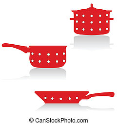 Cocinando utensilios en rojo