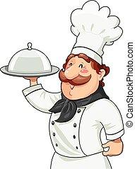 Cocinar con bandeja para comida y tapa