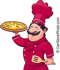 Cocinar con pizza. Comida italiana tradicional. Personaje de dibujos animados