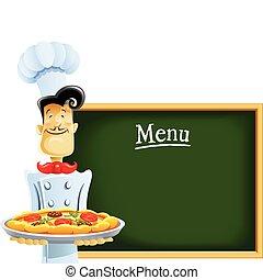 Cocinar con pizza y menú