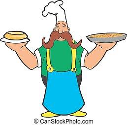 Cocinar dibujos animados con pizza y pastel