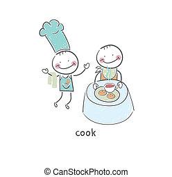 Cocinar y visitar el restaurante. Ilustración.