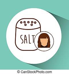 Cocinera de iconos Salt Shaker, avatar femenina