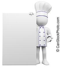 Cocinero 3D con un cartel en blanco