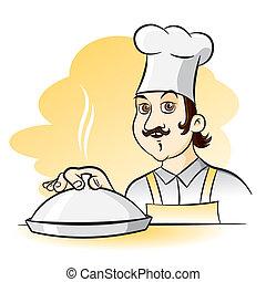Cocinero alegre, ilustración de dibujos animados