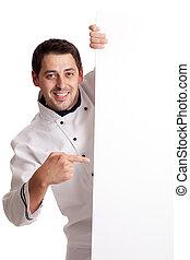 Cocinero cocinero en blanco