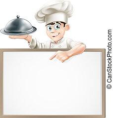 Cocinero de cartón con cloche y menú