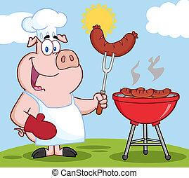 Cocinero de cerdo en una barbacoa en una colina