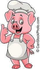 Cocinero feliz de dibujos animados dando un pulgar arriba