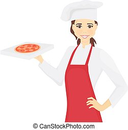 cocinero, manos, mujer, caja, chef, pizza