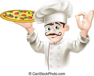 Cocinero sosteniendo una pizza sabrosa