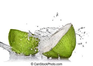 coco, aislado, agua, salpicadura, verde blanco