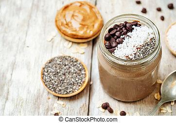 coco, avenas, durante la noche, chocolate, semillas, chia