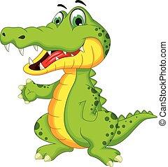cocodrilo, posar, caricatura