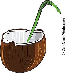 Coconut cortado a la mitad con una ilustración de vector verde sobre fondo blanco