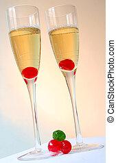 Cocteles de champaña coloridos