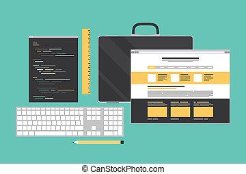 Codificación web y programación de ilustración plana