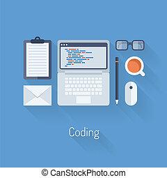 Codificación y programación ilustración plana
