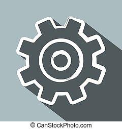 Cog. Diseño plano largo vector vector de velocidad icono.