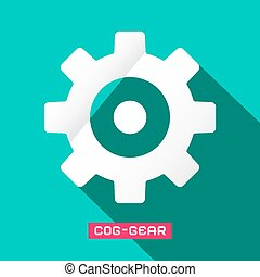 Cog - equipo de diseño plano símbolo vector