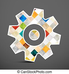 Cog icono. Cuadros coloridos dentro del símbolo de la marcha. Ilustración de vectores.