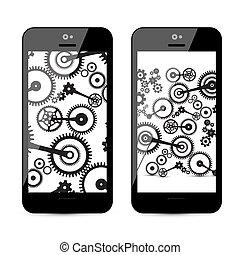 Cogs - engranajes en el teléfono móvil. Vector cog, ilustración de engranajes en smartphone.