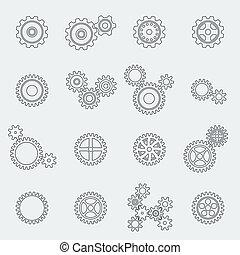 Cogs ruedas y engranajes pictogramas